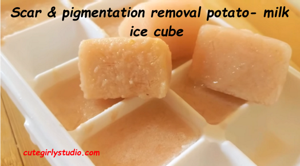 Potato and milk ice cube to remove pigmentation, scars and tan