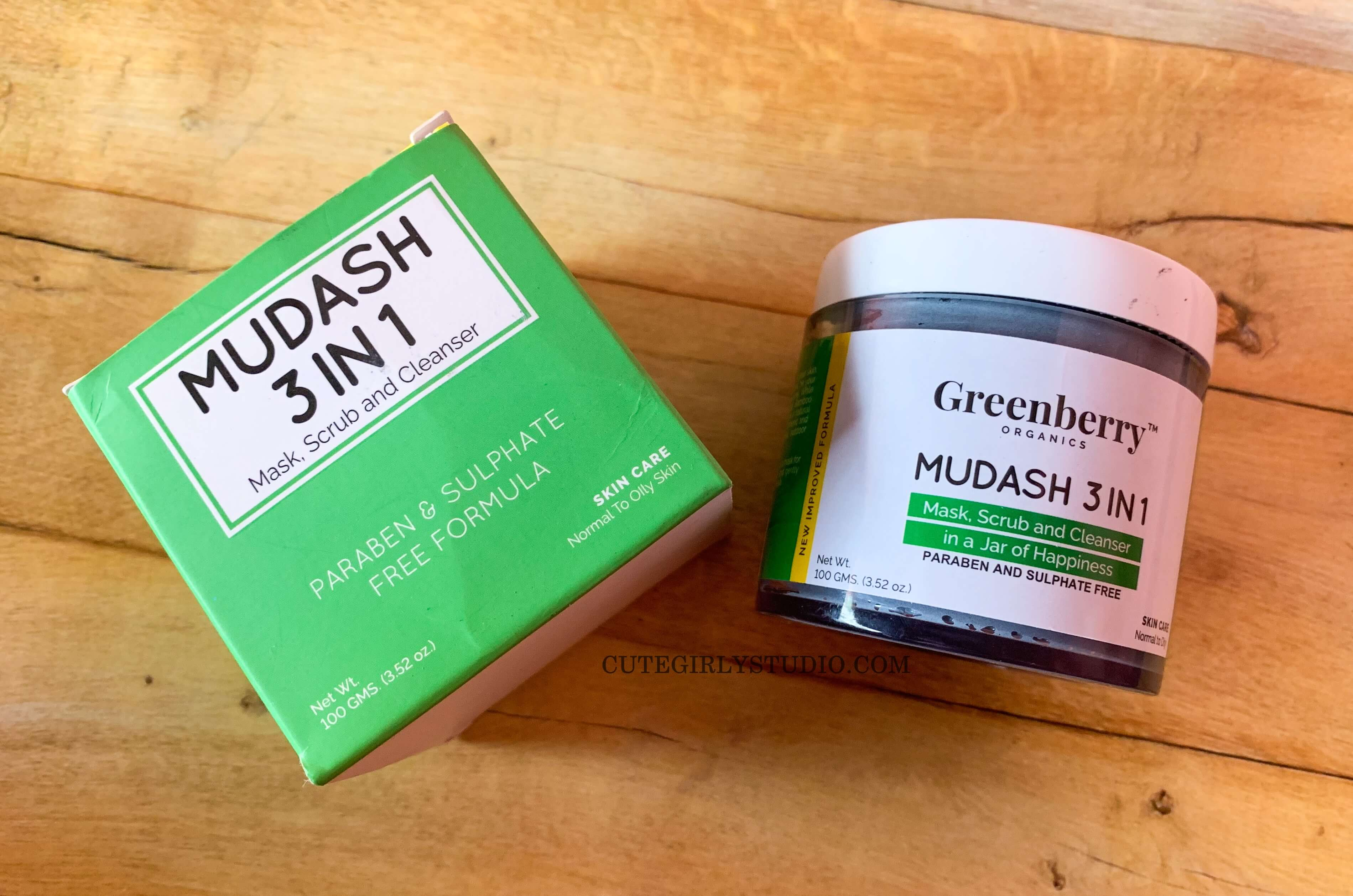 Greenberry organics mud ash 3 in 1 mask scrub and cleanser review