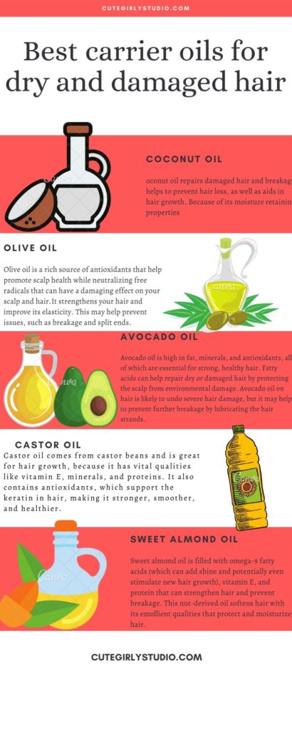 Best carrier oils for dry and damaged hair pin
